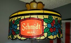 Vintage Schmidt Beer Hanging Style Light Lamp Sign Faux Stained Glass