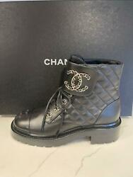 21a Quilted Leather Chain Cc Logo Lace Up Combat Ankle Bootie Boots Shoes
