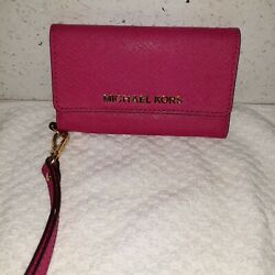 Michael Kors Womens Snap Wristlet Leather Phone Case Wallet Pink New $39.99