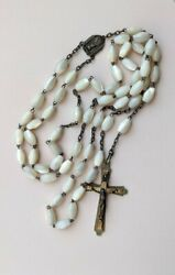 Antique French Fatima Rosary With Large Carved Mother Of Pearl Beads Heavy 59 Gr