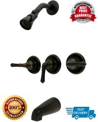 Brass Tub And Shower Faucet With 3-magellan Handle, Bronze And 5-inch Spout Reach