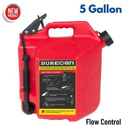 Plastic Gas Can Easy Pour Fuel Filling 5 Gal Flow Control Red Boat Mower Tractor