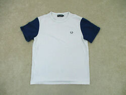 Fred Perry Shirt Adult Large White Blue Logo Cotton Tennis Casual Mens A42 * $18.88
