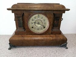 Seth Thomas Clock Antique Brown And Bronze 1869 Victorian Restored Oiled Working