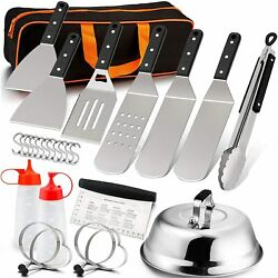 Grill Griddle Accessories Kit Barbecue Tool Outdoor Bbq Gas Cooking Set 26 Pcs