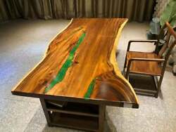 Antique Green Resin Wooden Dining Conference Center Top Table Handmade Furniture