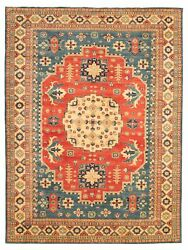 Vintage Geometric Hand-knotted Carpet 9'10 X 13'2 Traditional Wool Area Rug