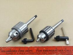 Set New Genuine Jacobs 3/8 And 1/2 Cap Mt1 Tailstock Drill Chucks Machinist Lathe