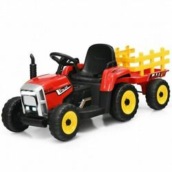 12v Ride On Tractor With 3-gear-shift Ground Loader For Kids 3+ Years Old-red -