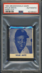 1964 Meadowgold Dairy Willie Mays Psa Authentic San Francisco Giants Hof Blue