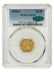 1858-c 2 1/2 Pcgs/cac Au53 - Popular Branch Mint Gold - 2.50 Liberty Gold Coin