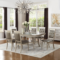 Curbside Shipping To Iowa - Modern 42x66 Dining Table Set In Champagne Silver