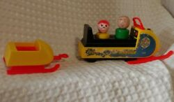 Mini Snow Mobile Snowmobile Vintage Fisher Price Little People W/ 2 Wood People