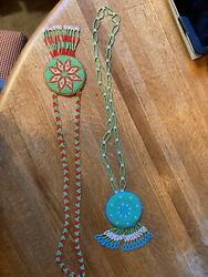 2 Vintage Native American Sioux Indian Beaded Leather Medallion Necklaces