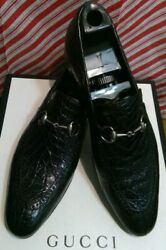 Authentic Menand039s Shoes Silver Horsebit Loafers Black Crocodile Size 8 Us