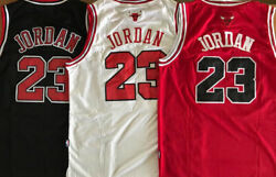 Men#x27;s Youth #23 Michael Jordan Chicago Bulls Red Black White Stitched Jersey
