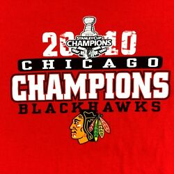 Chicago Blackhawks 2010 Stanley Cup Champions Short Sleeve T-shirt Nhl Size Xl