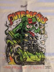 Vintage Authentic Ed Roth Big Daddy Hand Signed T-shirt Rat Fink 57 Chevy Xl 92