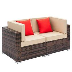 2 Pieces Furniture Patio Set Rattan Wicker Corner Sofa Sectional Couch Cushioned