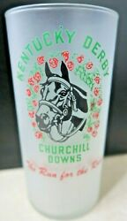 Vintage 1953 Kentucky Derby Mint Julep Run For The Roses Glass Ships Free