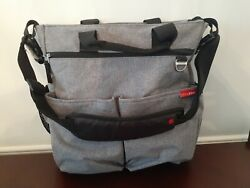 Skip Hop Messenger Diaper Bag Grey new no tags Red inside pad included $19.90