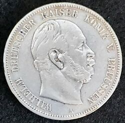 1876 A Silver Prussia German States 5 Mark Coin Berlin Mint Km 503