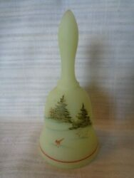 Vintage Fenton Hand Painted Cardinal And Snow Bell J Stevens