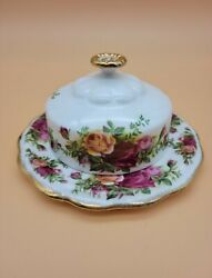 1962 Royal Albert Old Country Roses Bone China Covered Butter Dish