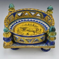 17th Century Spanish Majolica Pottery Footed Openwork Dish With Ox