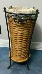 2003 Longaberger Umbrella Wooden Basket W/ Liner And Wrought Iron Stand