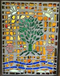 Large Thick Chunk Stained Glass Window Panel Brilliant Color Mcm Tree