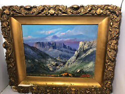 Wonderful Antique South American Mountains Landscape Signed Oil Painting