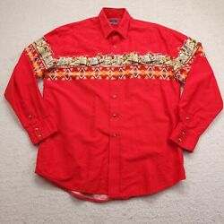 Vintage Roper Pearl Snap Shirt Menand039s Xlt Red Blue Western Aztec Rodeo Bull Ride