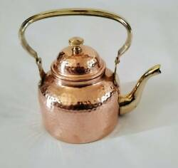 Pure Copper 2 Coffee/tea Kettle Pot With Brass Handle For Cooking And Serving Pot,