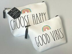 RAE DUNN clutch cosmetic bags set of 2 new $22.99