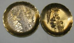 2 Wendell August 4 1/2 Pewter Plates 75th Anniversary Amish Scenes