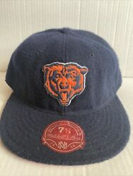 Chicago Bears Mitchell And Ness Fitted 7 3/4 Blue Hat Cap Wool Nfl Throwback Rare