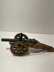Vintage Solid Heavy Oil Brass Cannon Wooden Carriage Made In Spain 11 Inches