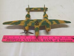 Vintage Hubley Propellor Plane Military Fighter Yellow And Camo Green P-38