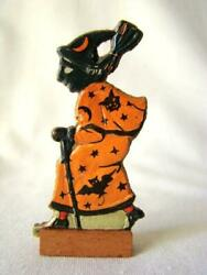 Antique Halloween Witch With Broom And Cane Skittles Game Piece Germany