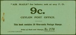 Ceylon 1935 Jubilee Booklet Sgsb12var Fine And Complete Extremely Rare