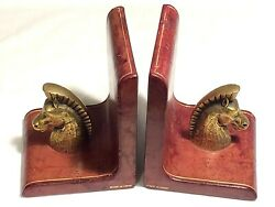 Vintage / Antique Italian Gilt Tooled Leather And Cast Brass Roman Horse Bookends