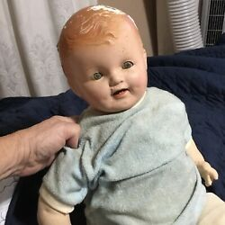 Antique 22 Compo Soft Body Baby Doll -eyes Move - Creepy Scary Halloween Prop