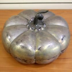 Antique Pumpkin Hors D'oeuvres Serving Tray In Sterling