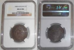 1883 Bolivia Large Copper Coin Two Centavos Mint Mark A, Ngc Mint State 63 Brown