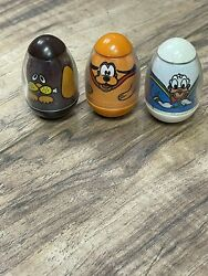 Vintage Hasbro Weeble Wobble Disney Pluto, Donald Duck And Brown Dog 1970's