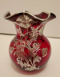 Vintage Silver City Ruby Red Ruffle Top Vase With Silver Floral Overlay