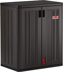 Suncast Commercial Black Blow Molded Tall 2 Shelf Storage Shed Cabinet For Indoo