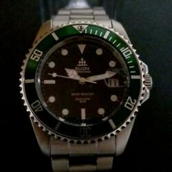 Vintage Elgin Automatic Diver 200m Green Bezel 39mm Menand039s Watch