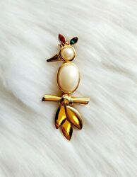 Vintage Gold Faux Pearl Parrot Brooch